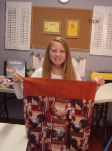 One of the pillowcases she made for her brothers for Christmas.