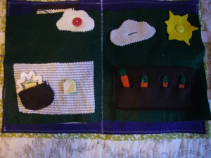 Outdoor picnic page and carrot garden page.